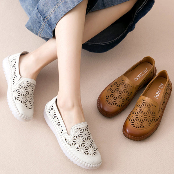 Women Casual Handmade Hollow Flat Shoes
