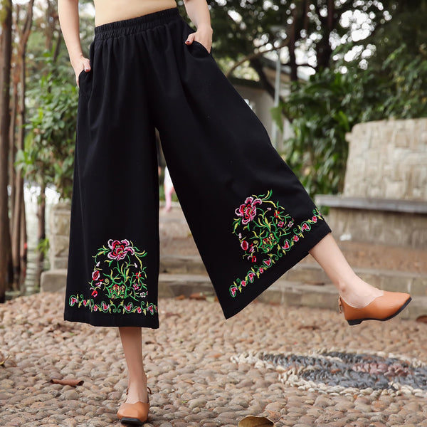 2019 Casual Embroidery Wide Leg Elastic Waist Loose  Pants