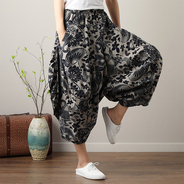 Ethnic Loose Wide Leg Vintage  Pants