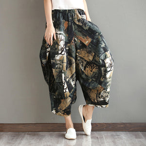 Ethnic Print Loose Irregular Vintage Pants