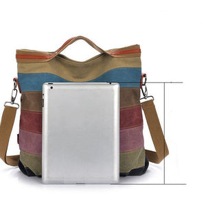 Women Canvas Striped Contrast Color Canvas Crossboby Bags