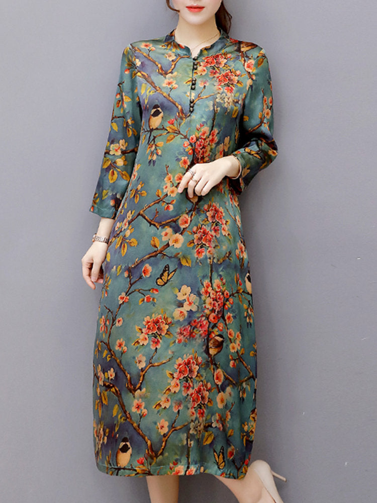 Vintage Women Long Sleeve O-Neck Random Print Dresses