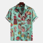 Mens Funny Cartoon Printed Chest Pocket Turn Down Collar Short Sleeve Shirts