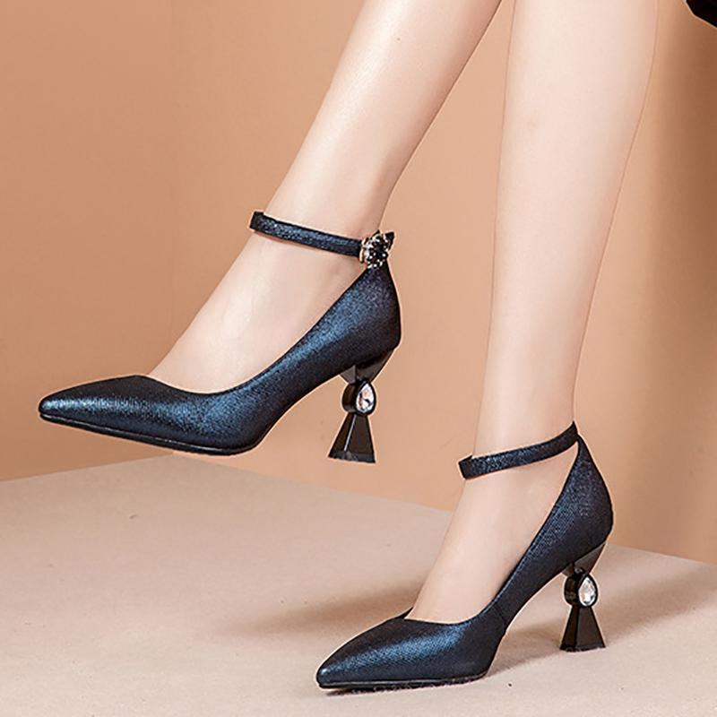 Cone Heel Genuine Leather Party & Evening Heels