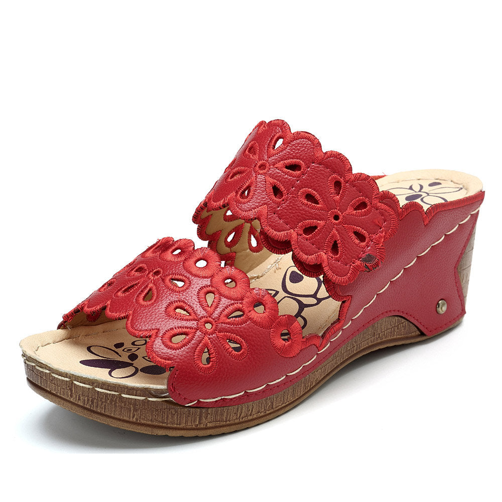 Women Casual Wedge Heel Flowers Hollow Peep Toe Sandals