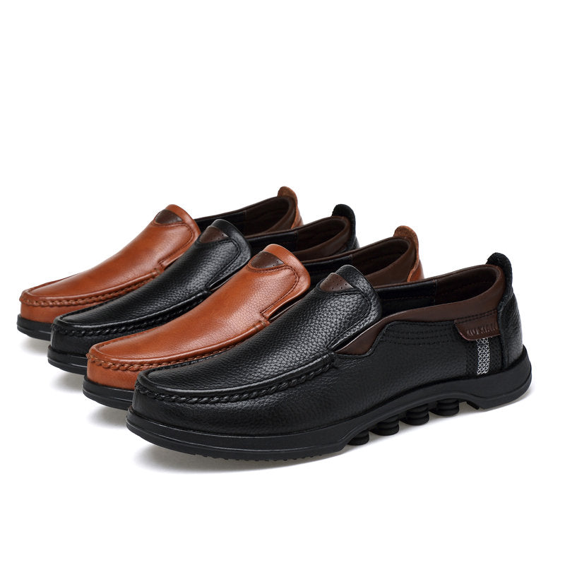 Men Large Size Cow Leather Slip On Soft Casual Shoes