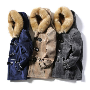 Men's Hooded Warm Winter Coats Thicken Fur Parkas Horn Buckle Pea Coat