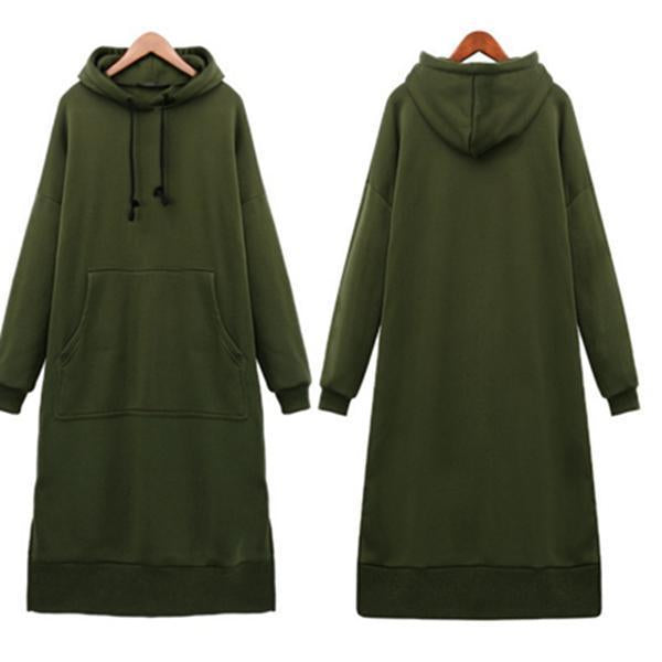 Casual Oversized Maxi Hoodies Dress with Pockets
