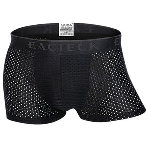 Mens Sexy Thin Ice Silk Soft Boxer Briefs