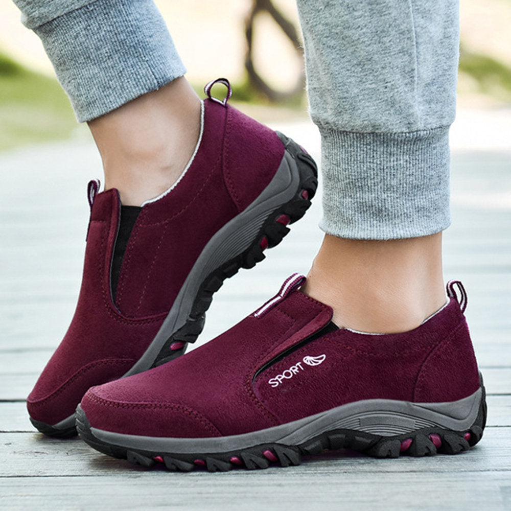 Women Suede Walking Slip Resistant Casual Comfortable Flat Shoes