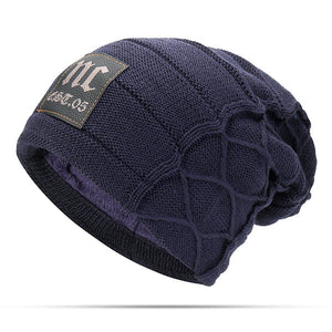 Mens Winter Plus Velvet Warm Knitted Hat