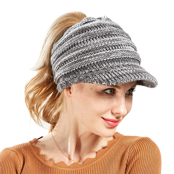 Women Soft Woolen Multifunctional Knit Hat Messy Bun Hat Warm