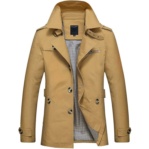 Men's Washed Cotton Trench Coat