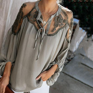 Sexy Lace Hollow Loose Blouse