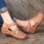Hollow Out Lightweight Breathable Hook Loop Wedges Sandals