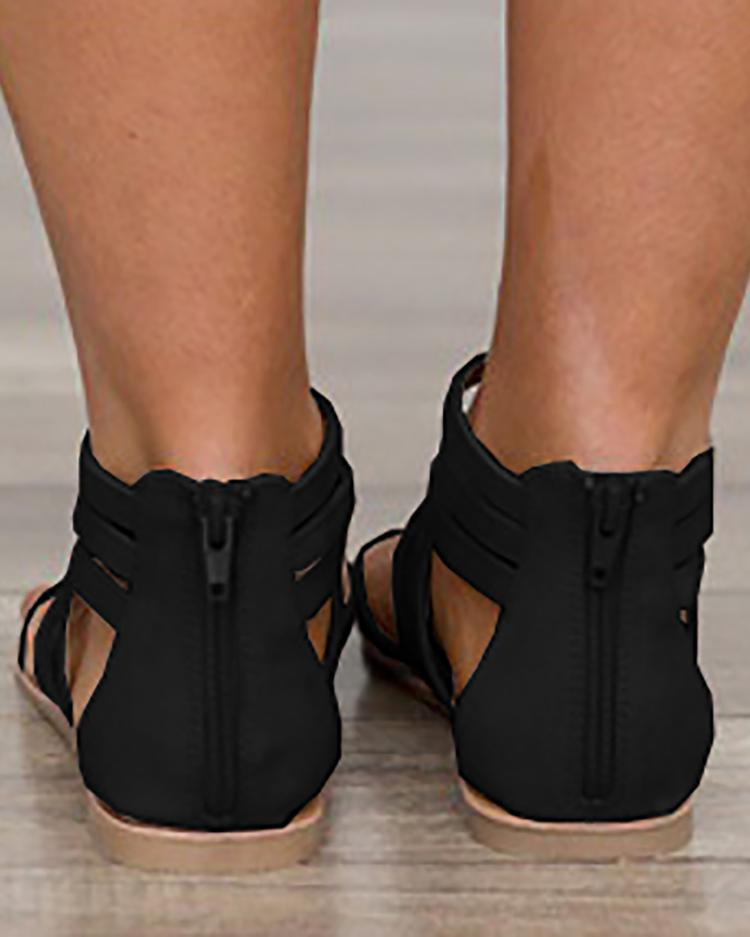 Ankle Wrap Strappy Zipper Back Flat Sandals