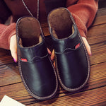 Leather Non-slip Warm Home Slippers