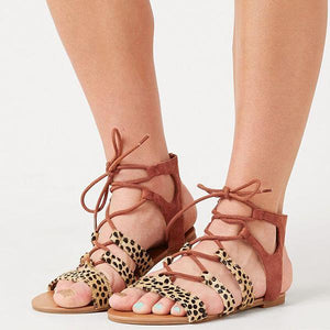 Leopard Printed Lace-Up Sandals