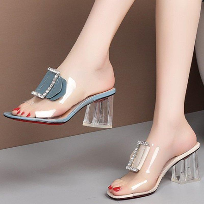 Summer Pvc Open Toe Middle Heel Daily Slippers