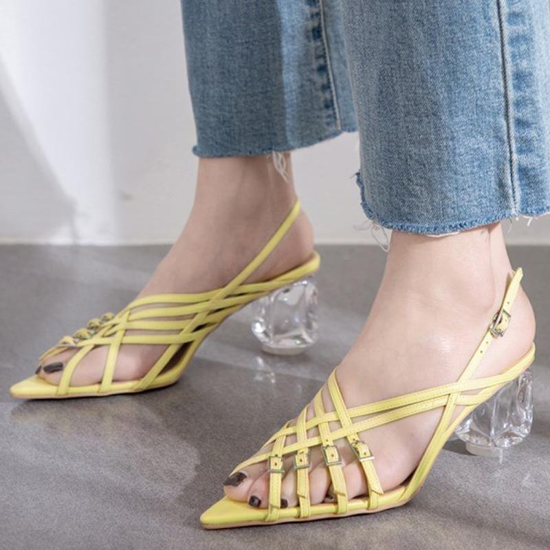 Pointed Toe Strange Chunky Heel Adjustable Buckle Summer Sandals