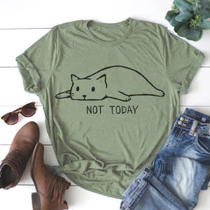 Plus Size S-5XL New Lovely Cat Letter Print T Shirt