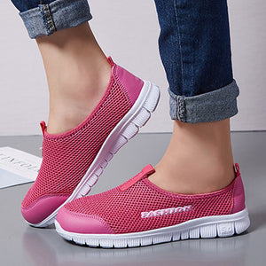 Women Mesh Breathable Slip On Comfort Walking Shoes