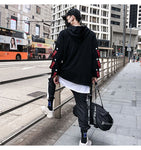 Fake 2 Pieces Ribbons Hooded High Street Pullover Sweatshirt