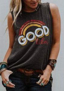 New Women  O-Neck  Tank Tops Good Vibes