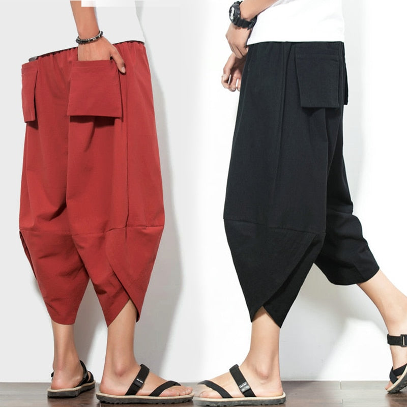 Male Cross Pants Low Rise Lantern Harem Pants