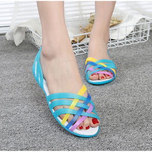 Women Jelly Shoes Rianbow Summer Sandals