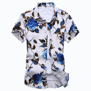 Fashion Mens Slim Fit Short Sleeve Floral Shirt