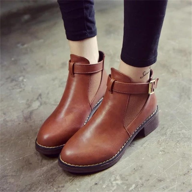 Autumn Female Buckle Strap Solid Comfortable Ankle Boots