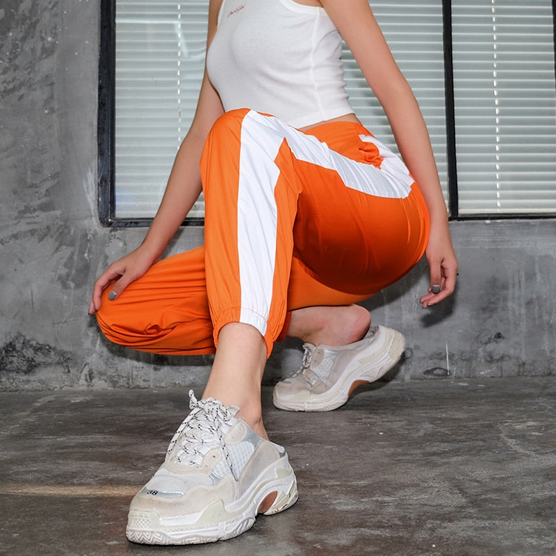 Women Orange Side Sweatpants