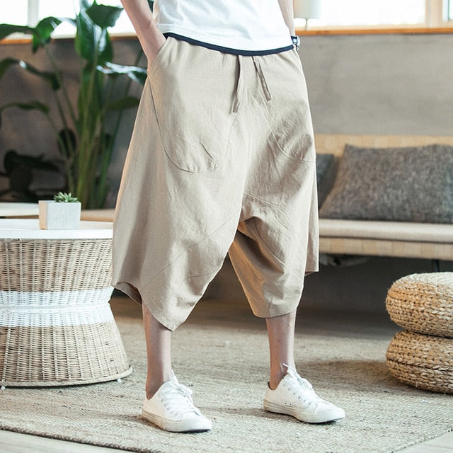 Men's Wide Crotch  Loose  Harem Pants