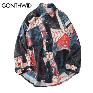 Japanese Ukiyo E Geometry Patchwork Long Sleeve Shirts