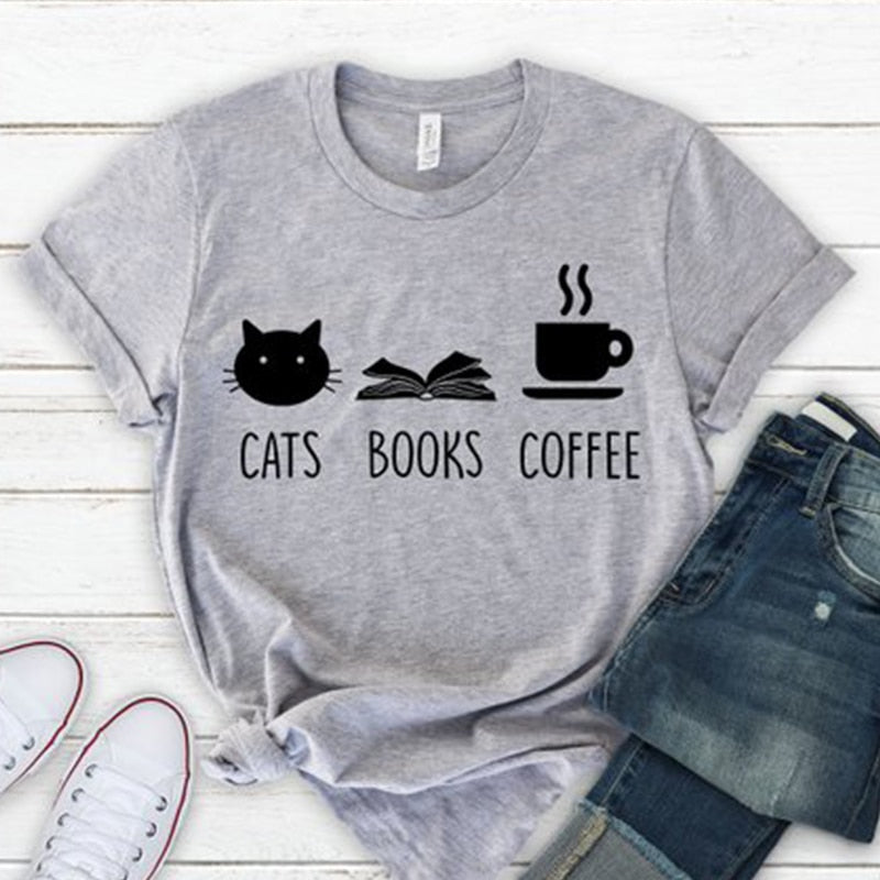 Cats Books Coffee T Shirt