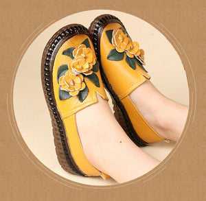 Retro Handmade Genuine Leather Loafers Flat Shoes