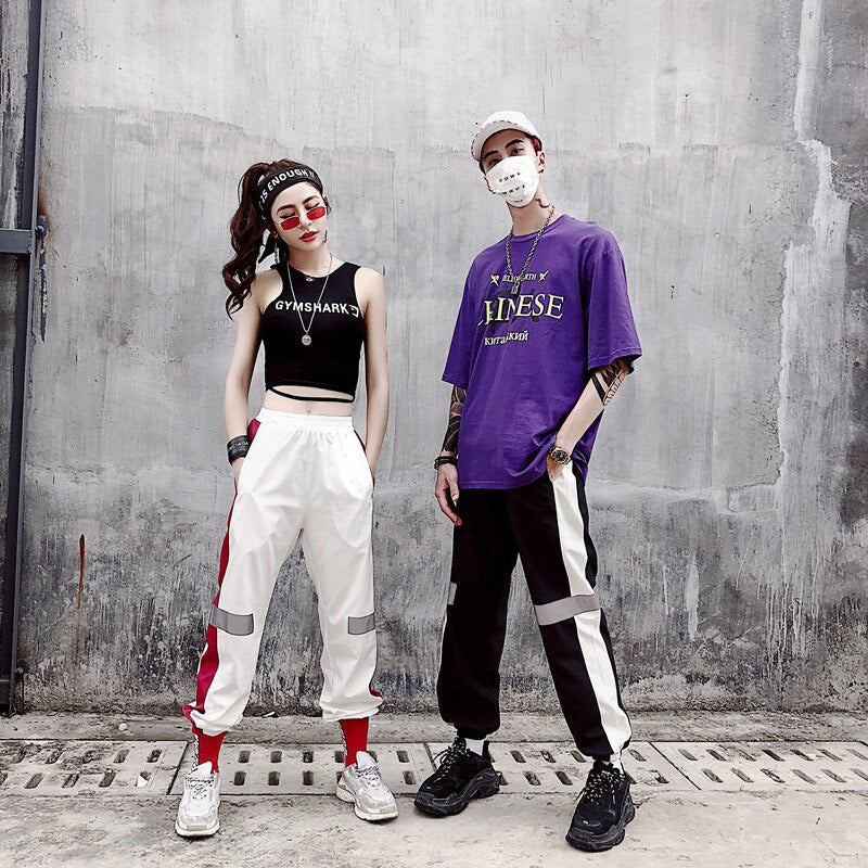 Slim Reflect Light Pants Hip Hop Sweetwear Trouser