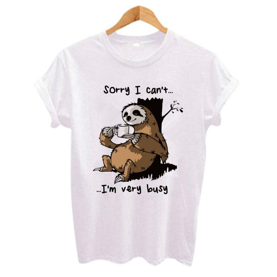 Cartoon sloth Print Women t shirt 2019 Plus Size Casual Short Sleeve O-Neck t-shirt