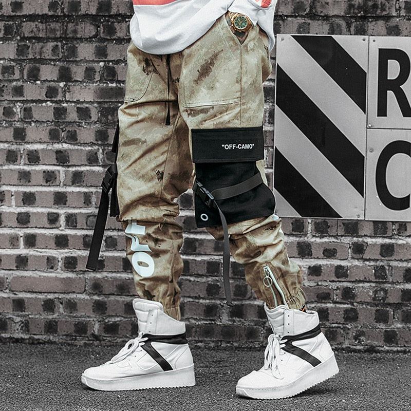 2019 Men Ribbons Cotton Cargo Pant