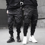 Men Ribbons Color Block Black Pocket Cargo Pants