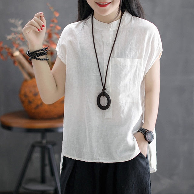 Women Summer Blouse Work OL Cotton Linen Shirt