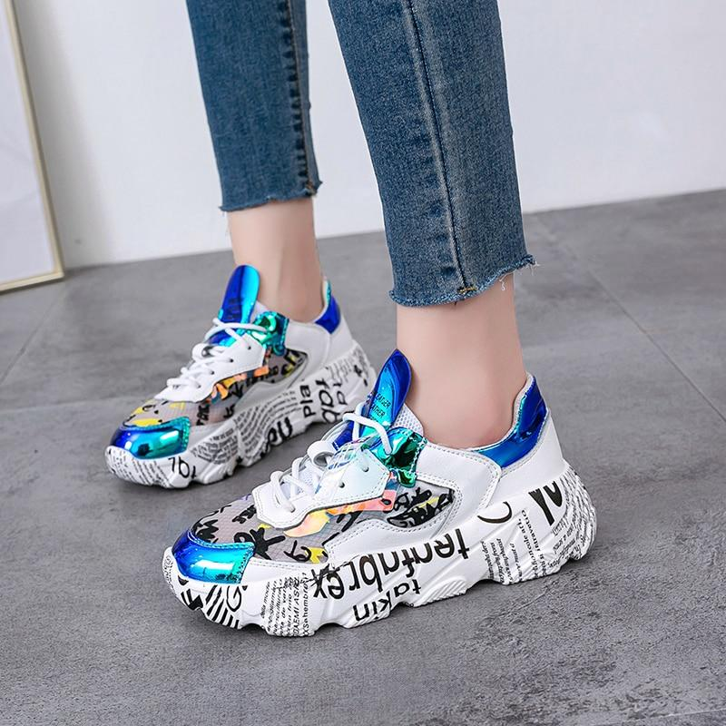 Mixed Colors Round Toe Platform Shoes