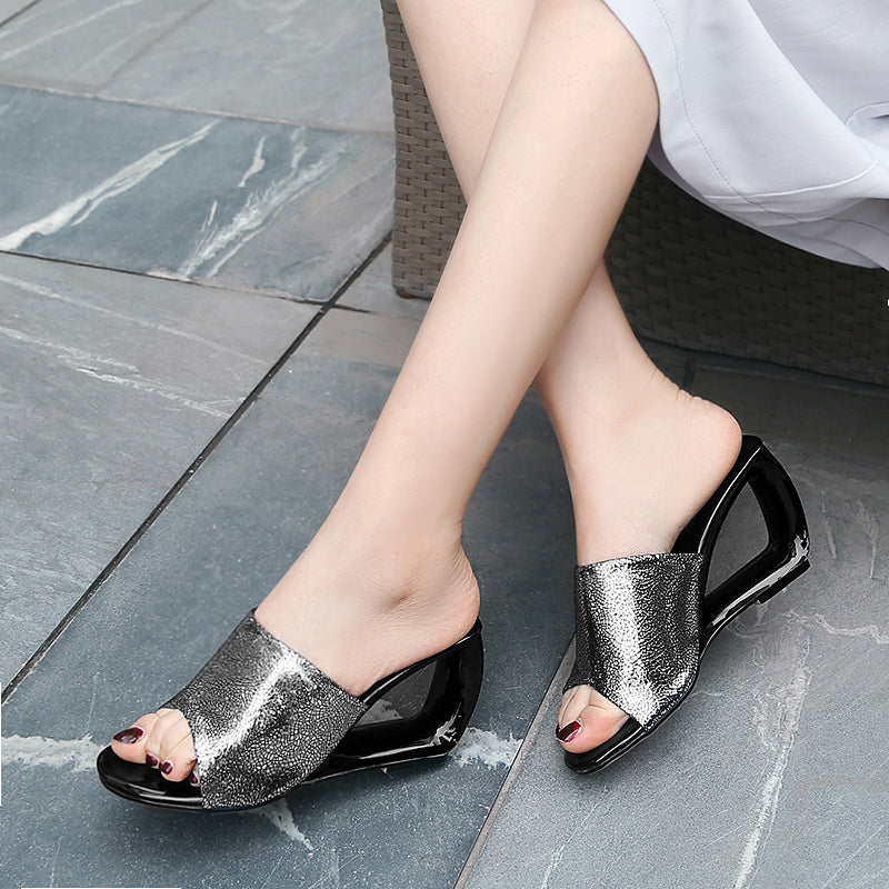 Women Real Leather Slippers New Fashion Lady Shoes