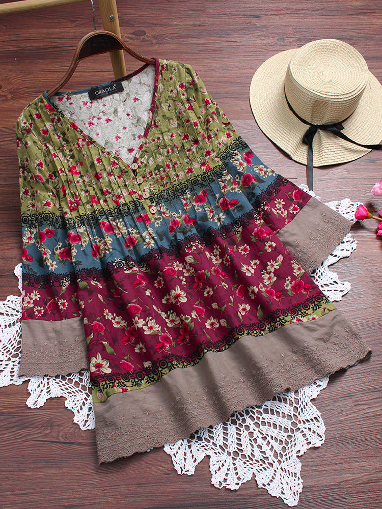 Vintage Floral Print Patchwork 3/4 Sleeve V-neck Blouses For Women