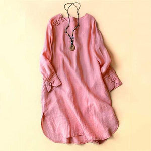 Solid  Irregular Frog Button Vintage Blouses
