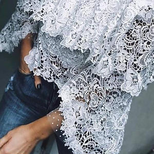 Casual Sexy Ruffle Lace Blouse