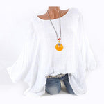 Plus Size Solid Color Round Neck Blouses