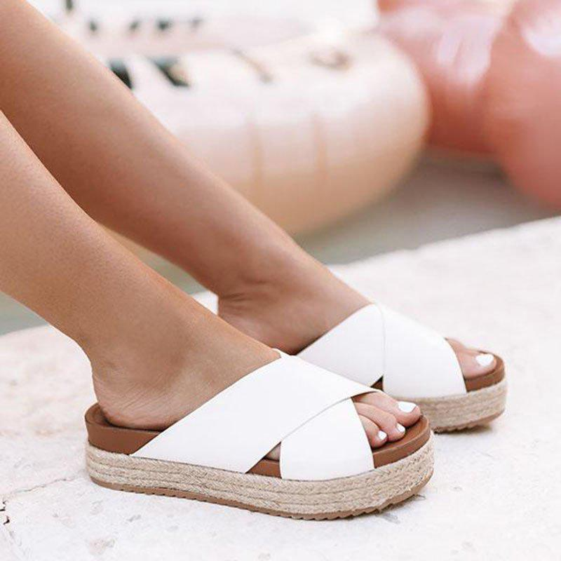 Women's Plus Size Peep Toe Platform Summer Slippers