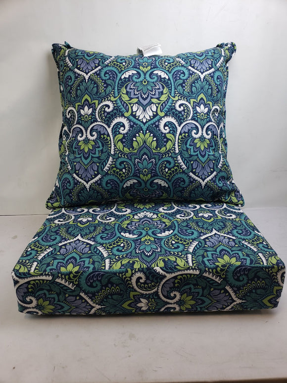 Arden Selections Sapphire Aurora Damask 24 x 24 in Outdoor Deep Seat Cushion Set
